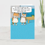 """Funny Old Cat Birthday Card<br><div class=""""desc"""">Here&#39;s a funny birthday card featuring a cat who is getting older and can&#39;t forgets what he was going to pee on after he walked into the room. How embarrassing! From the creator of popular webcomic Captain Scratchy! &#169;2015 Chuck Ingwersen</div>"""