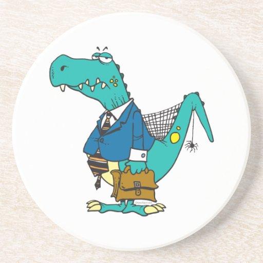 funny old dinosaur cartoon character beverage coaster