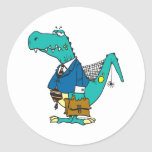 funny old dinosaur cartoon character round sticker