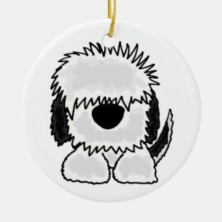 Funny Old English Sheepdog Cartoon Ceramic Ornament