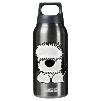 Funny Old English Sheepdog Cartoon Insulated Water Bottle
