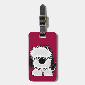 Funny Old English Sheepdog Cartoon Luggage Tag