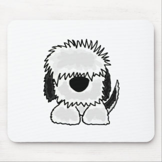 Funny Old English Sheepdog Cartoon Mouse Pad