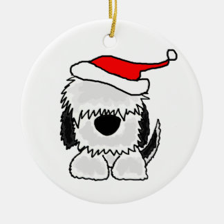 Funny Old English Sheepdog in Santa Hat Ceramic Ornament