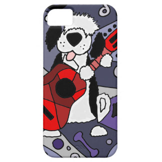 Funny Old English Sheepdog Playing Guitar Art iPhone SE/5/5s Case