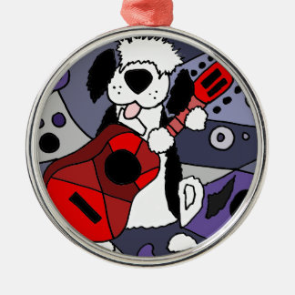 Funny Old English Sheepdog Playing Guitar Art Metal Ornament