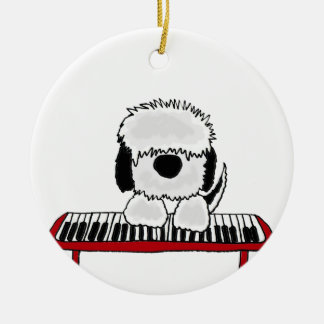 Funny Old English Sheepdog Playing Keyboard Ceramic Ornament