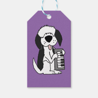 Funny Old English Sheepdog Playing Keyboard Gift Tags