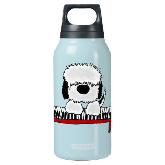 Funny Old English Sheepdog Playing Keyboard Insulated Water Bottle