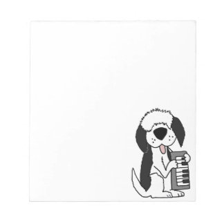 Funny Old English Sheepdog Playing Keyboard Notepad