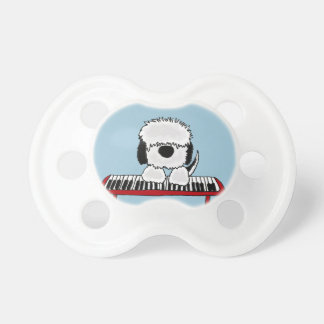Funny Old English Sheepdog Playing Keyboard Pacifier