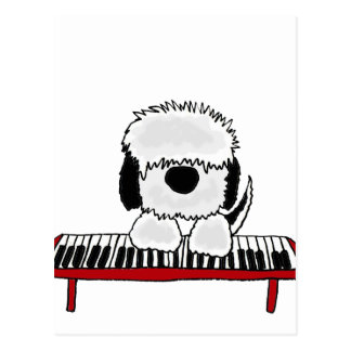 Funny Old English Sheepdog Playing Keyboard Postcard