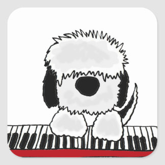 Funny Old English Sheepdog Playing Keyboard Square Sticker