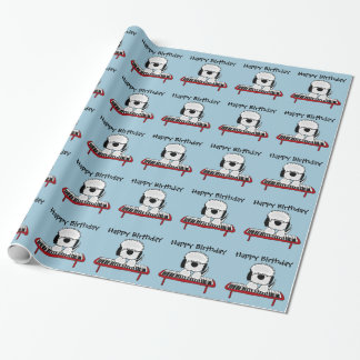 Funny Old English Sheepdog Playing Keyboard Wrapping Paper