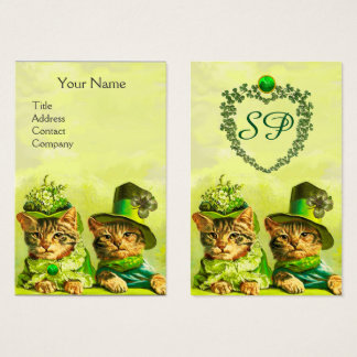 FUNNY OLD FASHION ST.PATRICK'S CATS,HEART MONOGRAM BUSINESS CARD