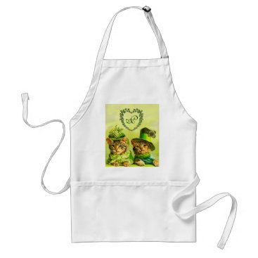 Wedding Themed FUNNY OLD FASHION ST.PATRICK'S DAY CATS HEART ADULT APRON