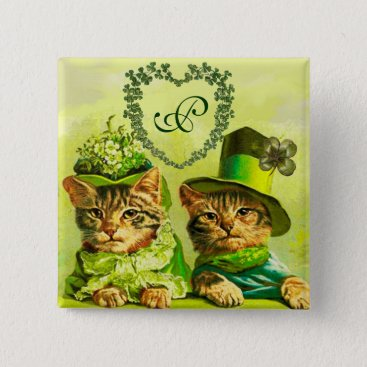 Wedding Themed FUNNY OLD FASHION ST.PATRICK'S DAY CATS HEART BUTTON