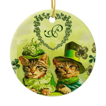 Wedding Themed FUNNY OLD FASHION ST.PATRICK'S DAY CATS HEART CERAMIC ORNAMENT