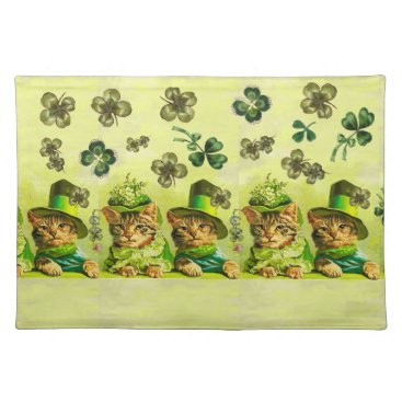 Wedding Themed FUNNY OLD FASHION ST.PATRICK'S DAY CATS HEART CLOTH PLACEMAT