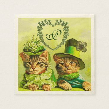 Wedding Themed FUNNY OLD FASHION ST.PATRICK'S DAY CATS HEART PAPER NAPKIN