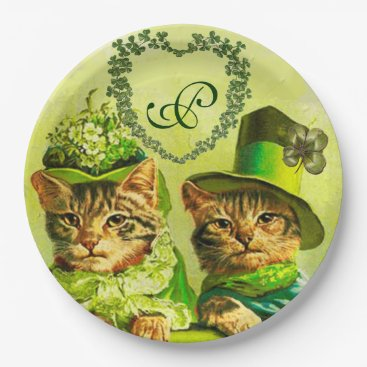 Wedding Themed FUNNY OLD FASHION ST.PATRICK'S DAY CATS HEART PAPER PLATE