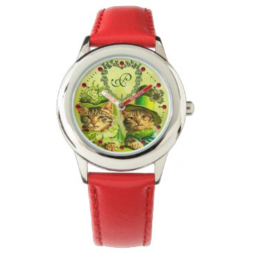 Wedding Themed FUNNY OLD FASHION ST.PATRICK'S DAY CATS HEART WRIST WATCH