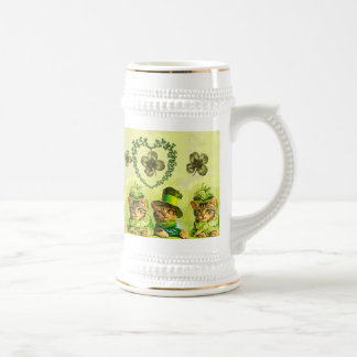 FUNNY OLD FASHION ST PATRICK'S DAY CATS, SHAMROCKS BEER STEIN