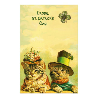FUNNY OLD FASHION ST PATRICK'S DAY CATS, SHAMROCKS STATIONERY