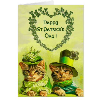 FUNNY OLD FASHION ST.PATRICK'S DAY CATS WITH HEART CARD