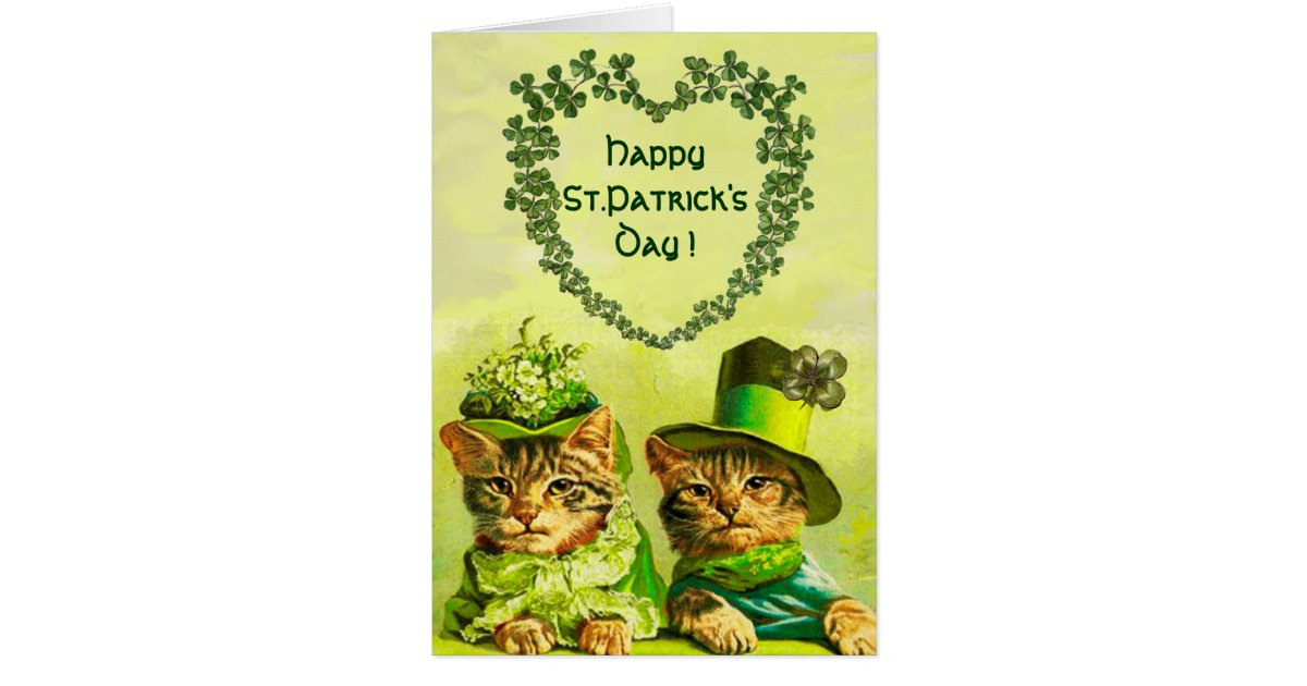 Funny Wedding Gifts Ireland : FUNNY OLD FASHION ST.PATRICKS DAY CATS WITH HEART CARD Zazzle