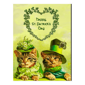 FUNNY OLD FASHION ST.PATRICK'S DAY CATS WITH HEART POSTCARD