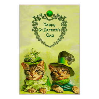FUNNY OLD FASHION ST.PATRICK'S DAY CATS WITH HEART POSTER
