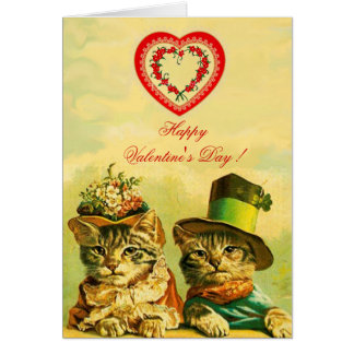 FUNNY OLD FASHION VALENTINE'S DAY CATS WITH HEART CARD