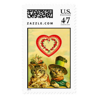 FUNNY OLD FASHION VALENTINE'S DAY CATS WITH HEART POSTAGE