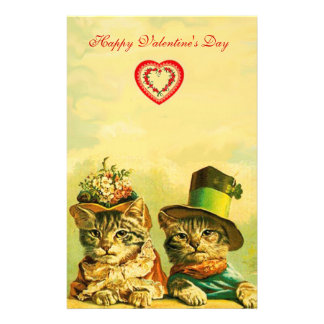 FUNNY OLD FASHION VALENTINE'S DAY CATS WITH HEART STATIONERY