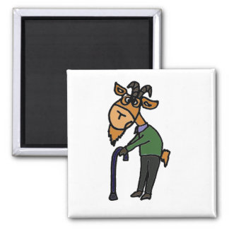 Funny Old Goat Cartoon 2 Inch Square Magnet