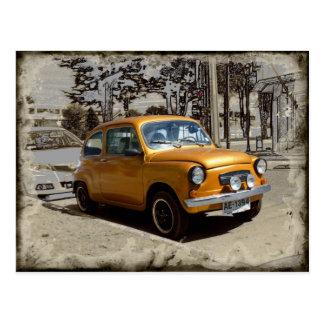 Funny old gold car postcard