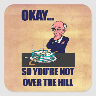 Funny Old Man Over the Hill Birthday Stickers