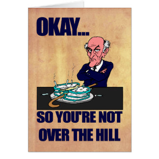 Funny Old Man Over the Hill Happy Birthday Card