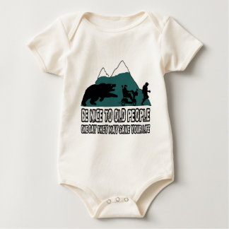 Funny old people baby bodysuit