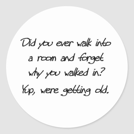funny old people classic round sticker