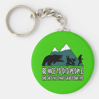 Funny old people keychain