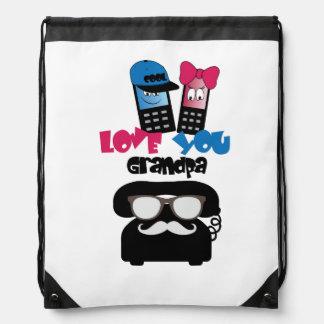 Funny old  phone grandpa drawstring bag