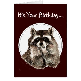 Funny Older Wiser Birthday Card Cute Raccoon