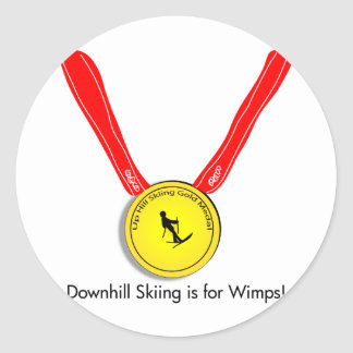 Funny Olympic Downhill Skiing Design Classic Round Sticker