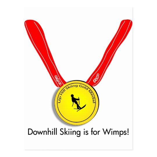 Funny Olympic Downhill Skiing Design Postcard