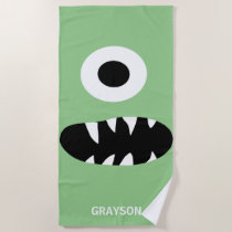 Funny One Eyed Monster Kids Personalized Green Beach Towel
