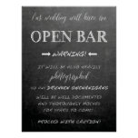 Funny Open Bar Wedding sign | Chalkboard style