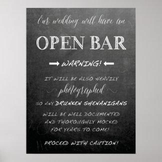 Funny Open Bar Wedding sign | Chalkboard style