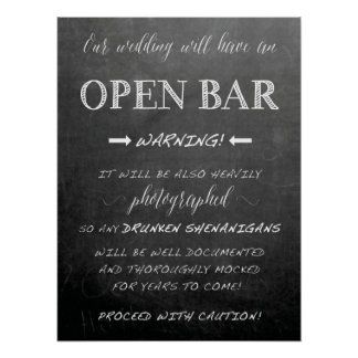 Funny Open Bar Wedding sign   Chalkboard style Poster